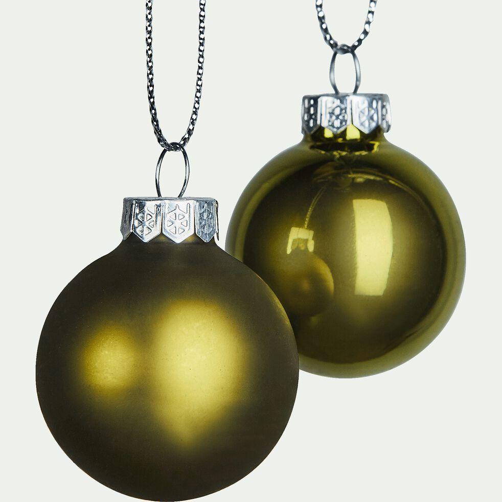Lot de 16 boules en verre vertes D3,5cm-buendia