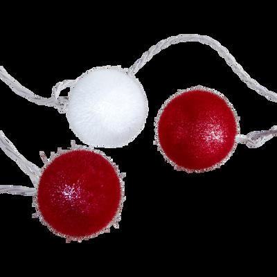 Guirlande lumineuse à boules rouges et blanches L340cm-VELOURS