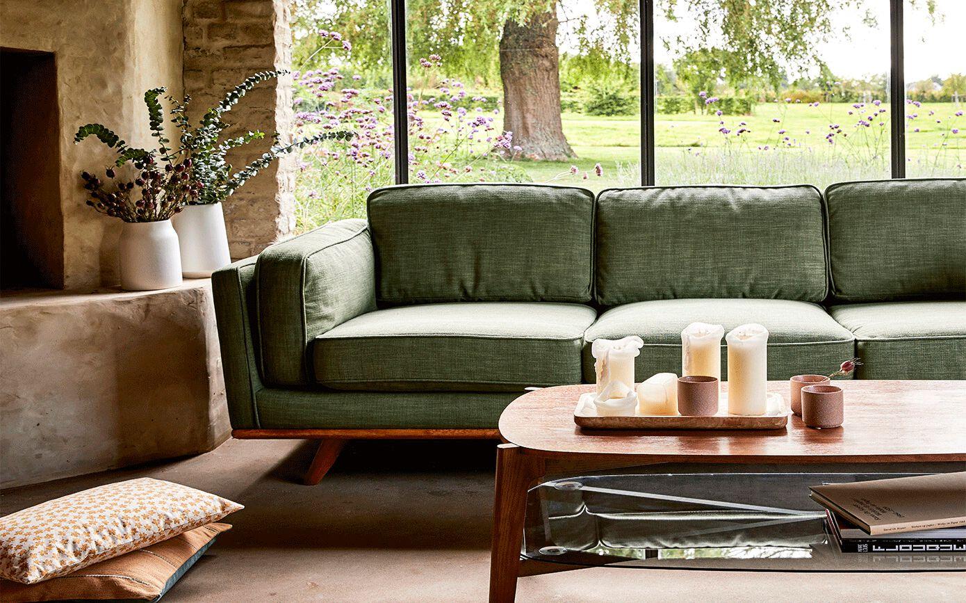 Canapé 3 places fixe en tissu vert cèdre-ASTORIA