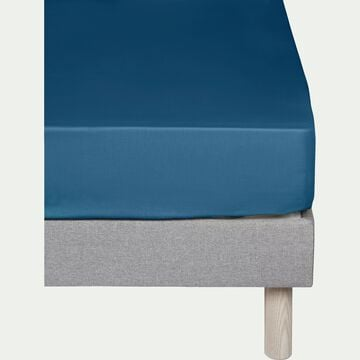 Drap housse en coton Bleu figuerolles 90x200cm -bonnet 25cm-CALANQUES