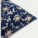 Coussin motif floral en coton - bleu 40x40cm-BORRAGEM