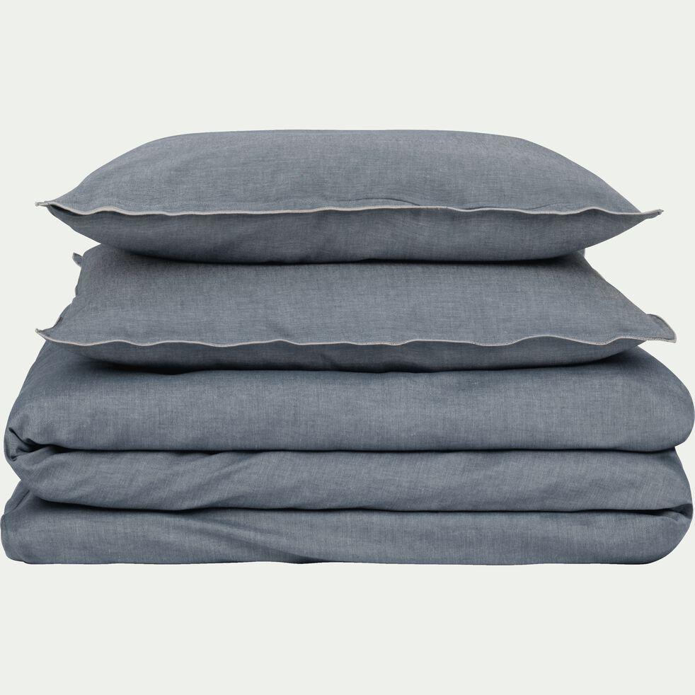 Lot de 2 taies d'oreiller en coton chambray - gris anthracite 50x70cm-FRIOUL