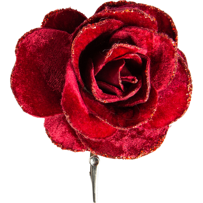 Rose à pince en velours rouge D12cm-ISEPO