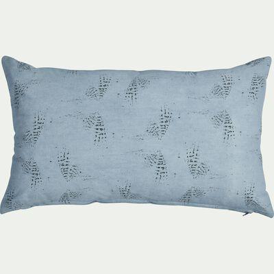 Coussin en coton imprimé bleu 30x50cm-ATOSIA