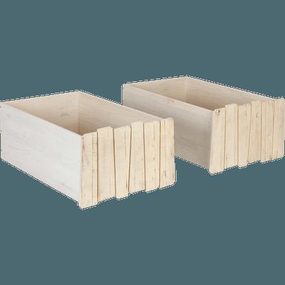 2 tiroirs de lit à roulettes en pin massif-Woody wood