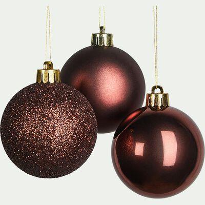 Lot de 10 boules de Noël rouge D6cm-ISSY