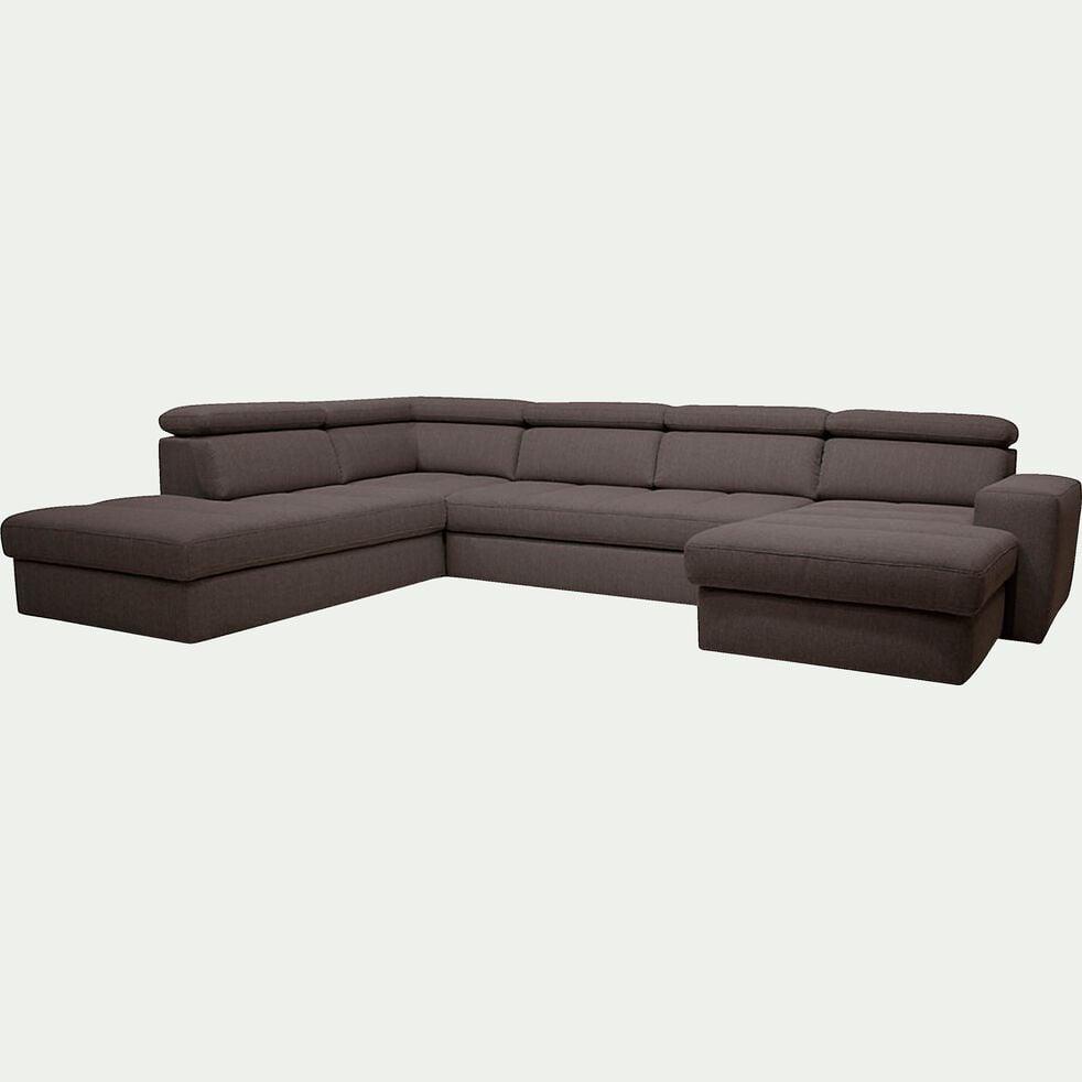 Canapé d'angle en forme de u convertible en tissu gris anthracite avec méridienne à droite-TONIN