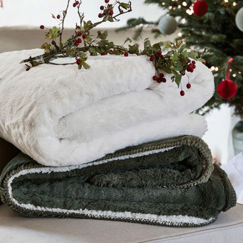Plaid imitation fourrure en polyester - blanc ventoux 230x250cm-MARIUS