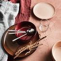 Assiette à dessert en faïence brun albe D20cm-LANKA