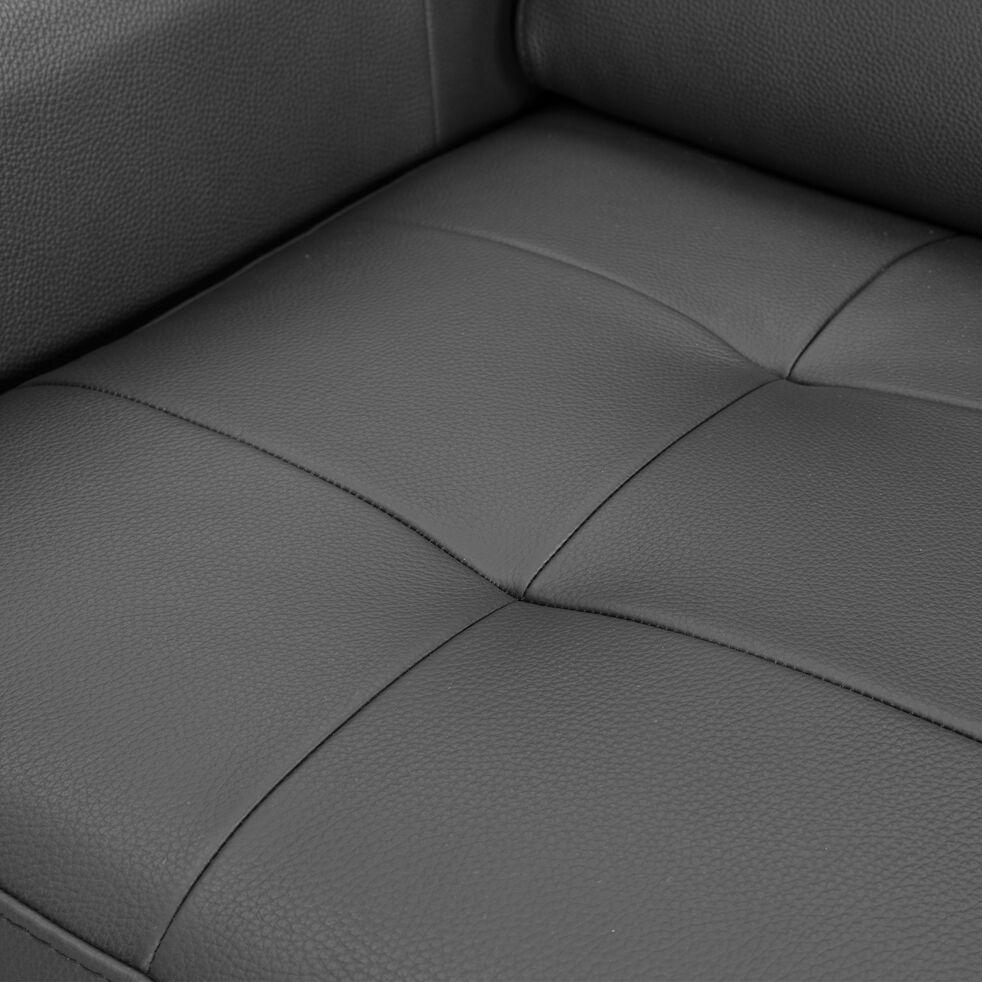 Canapé 3 places convertible en cuir - noir-MAUROBULTEX