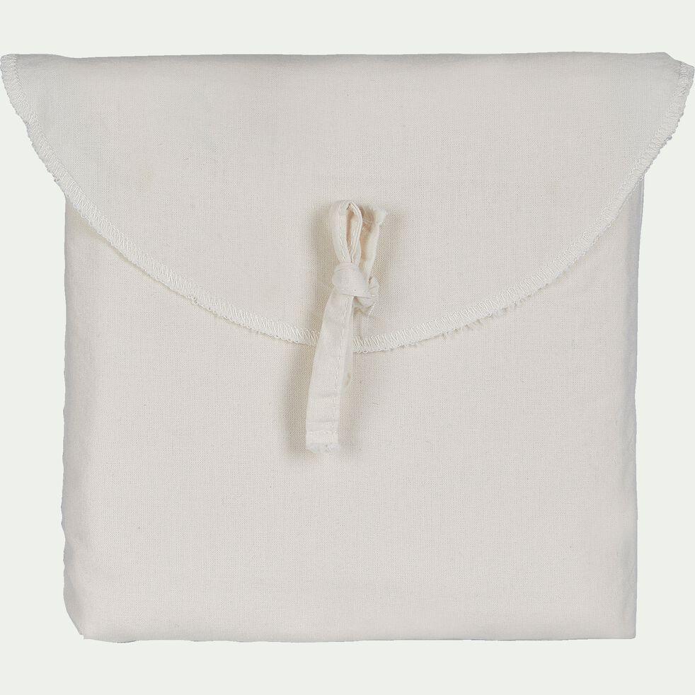 Lot de 2 taies d'oreiller en coton brodé - blanc ventoux 65x65cm-GALLIA