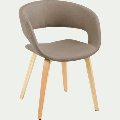 Chaise en tissu beige avec accoudoirs-JOYAU