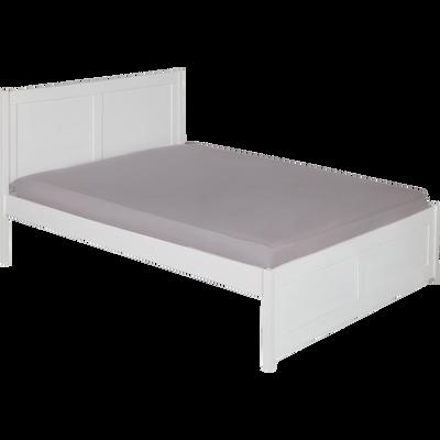 Lit 2 places avec tête de lit en pin massif Blanc - Plusieurs tailles-LISON