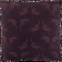 Coussin en coton imprimé prune 40x40cm-ATOSIA