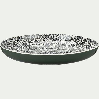 Assiette plate en porcelaine à motifs jasmin - vert cèdre D26,8cm-AIX