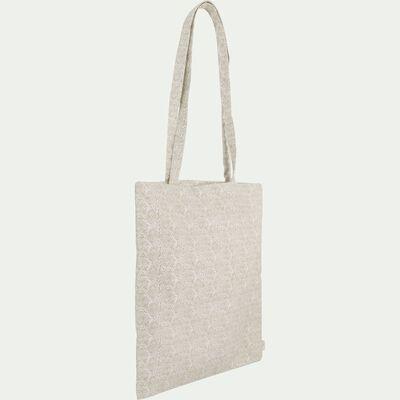 Sac en coton motif Amande - beige 38x42cm-AMANDE
