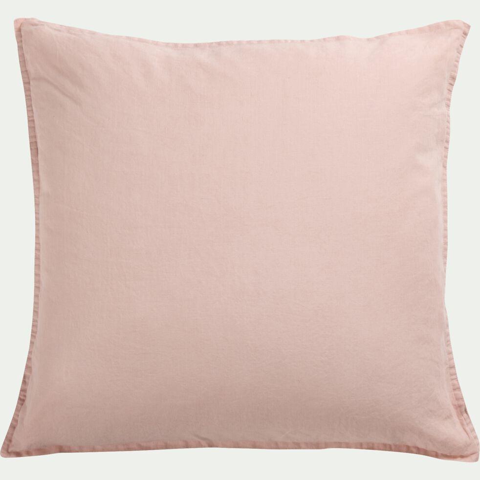 Lot de 2 taies d'oreiller en lin - rose rosa 65x65cm-VENCE