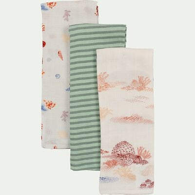 Lot de 3 langes bébé en gaze de coton 70x70cm - multicolore aquastripe-Nuage