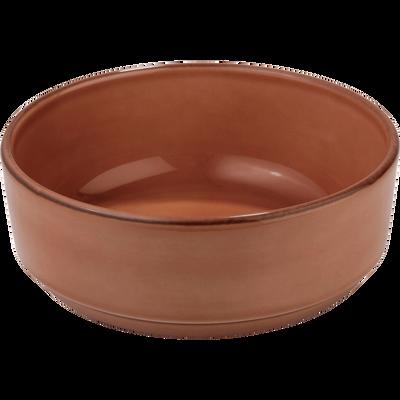 Assiette creuse en faïence brun albe D16cm-LANKA