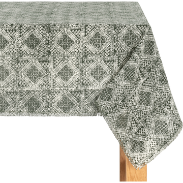 Nappe en lin et coton vert 170x250cm-BAHTI
