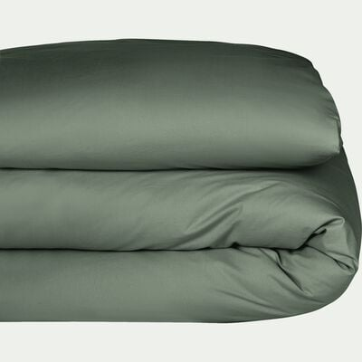 Housse de couette en percale de coton Vert cèdre 240x220cm-FLORE
