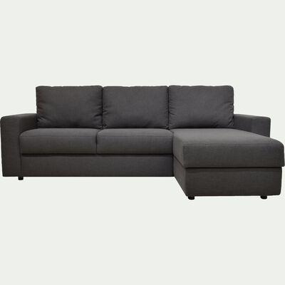 Canapé d'angle réversible fixe en tissu gris restanque-FERNAND