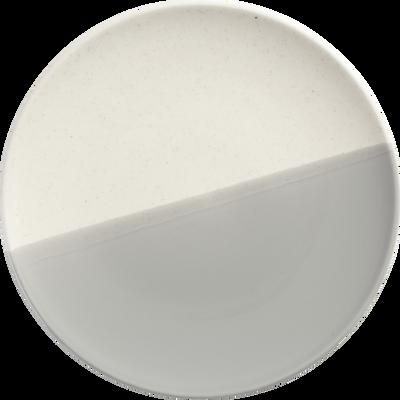 Assiette à dessert en faïence grise et blanche D22cm-ECLAT