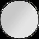 Miroir rond en bois noir D50cm-OUNDO
