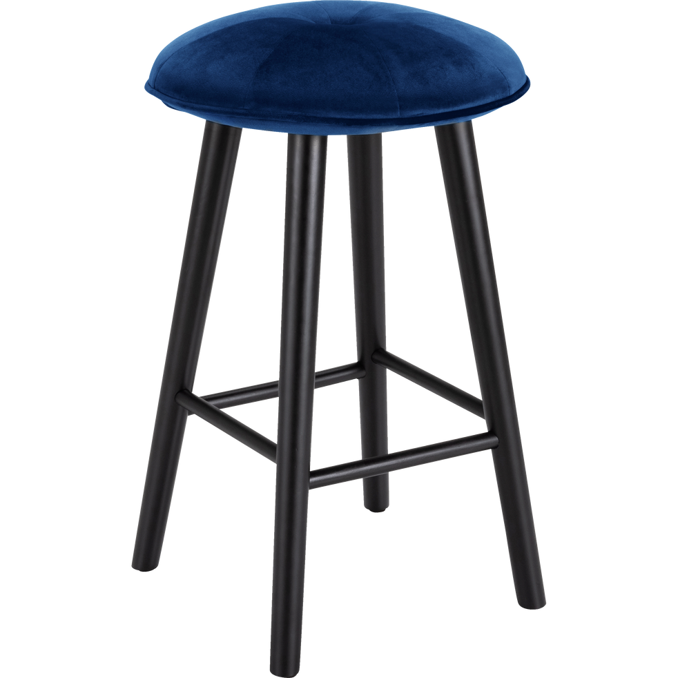 tabouret de bar en velours bleu myrte h66cm augustin. Black Bedroom Furniture Sets. Home Design Ideas