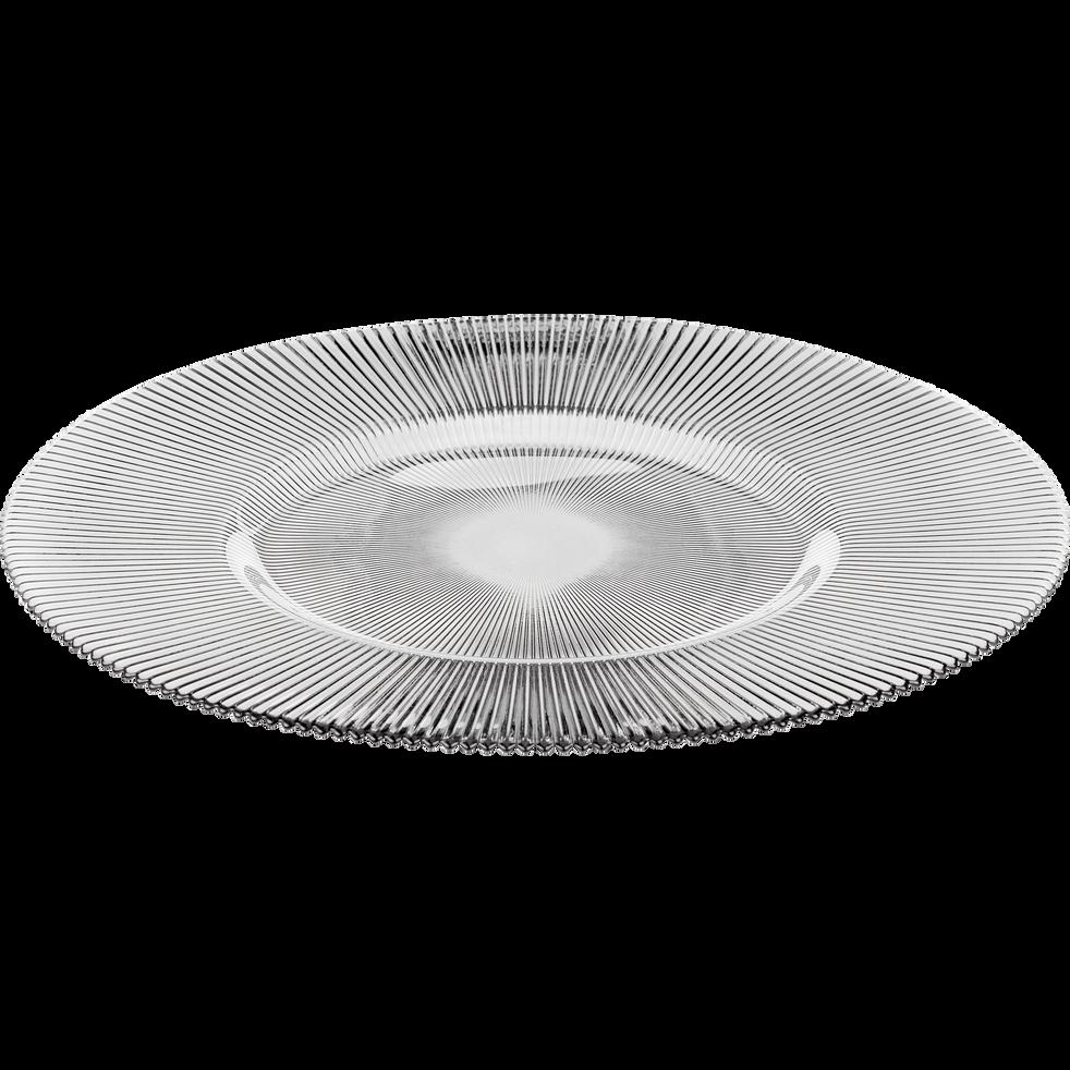 Assiette de présentation en verre strié gris clair D35cm-SUPERBE