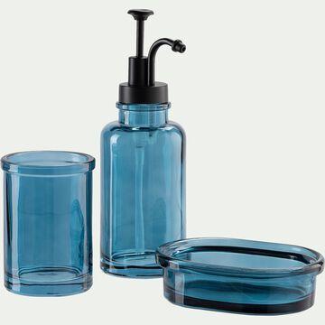 Set de salle de bain en verre - bleu niolon-MIMOSA