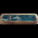 Plateau en manguier et résine bleue décoré D36cm-APHELIE