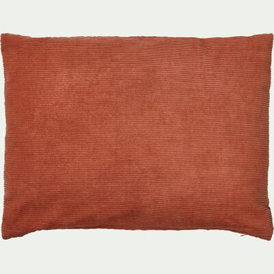 Coussin rectangle en velours côtelé 30x40cm - rouge grenade-Colombine