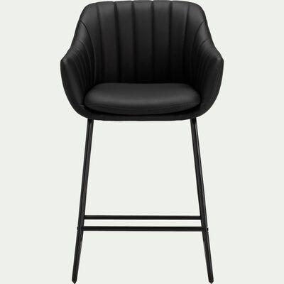 Chaise haute en simili cuir noir-OLBIA