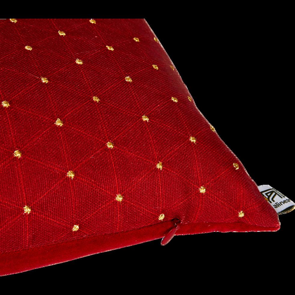 Coussin rouge brodé de fils dorés 30x50cm-OPERA