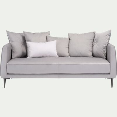 Canapé 3 places fixe en tissu gris borie-ASTELLO