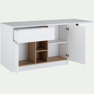 Îlot central de cuisine effet marbre - blanc-GINKO