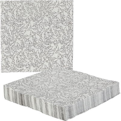 Lot de 20 serviettes en papier blanches à fleurs-ACANTHE