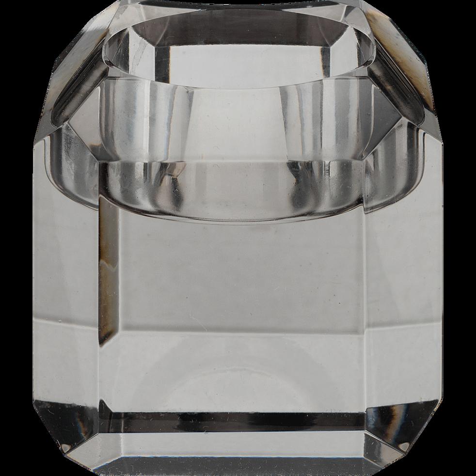 ANTONIN - Bougeoir en verre argenté D6xH6cm
