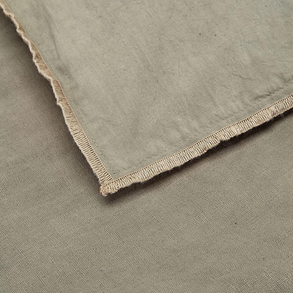 Édredon en lin et coton piquage pompons - vert olivier 100x180cm-ELINA