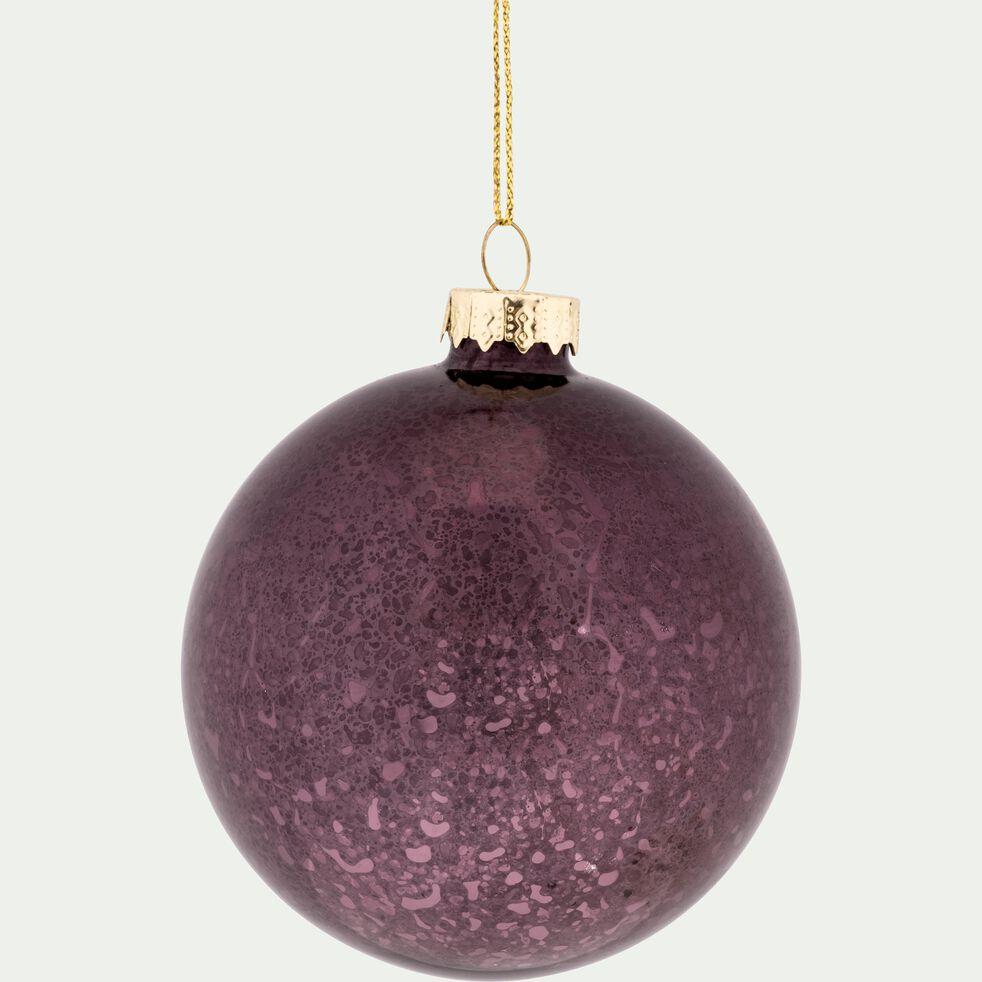 Boule de Noël en verre violet D8cm-FAUST