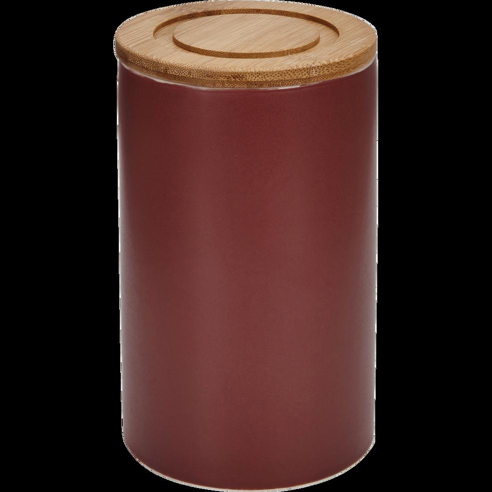 Pot en porcelaine rouge avec couvercle en bambou D10,5xH16 cm-JAN