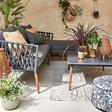Salon de jardin en bois et tissu gris anthracite (4 places)