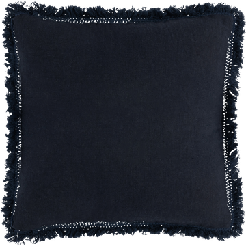 Coussin à franges en lin bleu marine 40x40cm-HOA