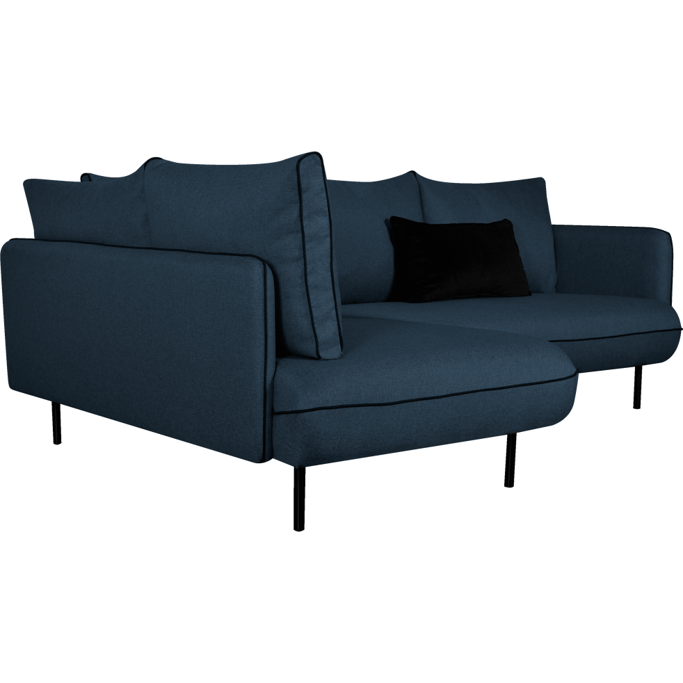 canap d 39 angle gauche fixe en tissu bleu figuerolles. Black Bedroom Furniture Sets. Home Design Ideas
