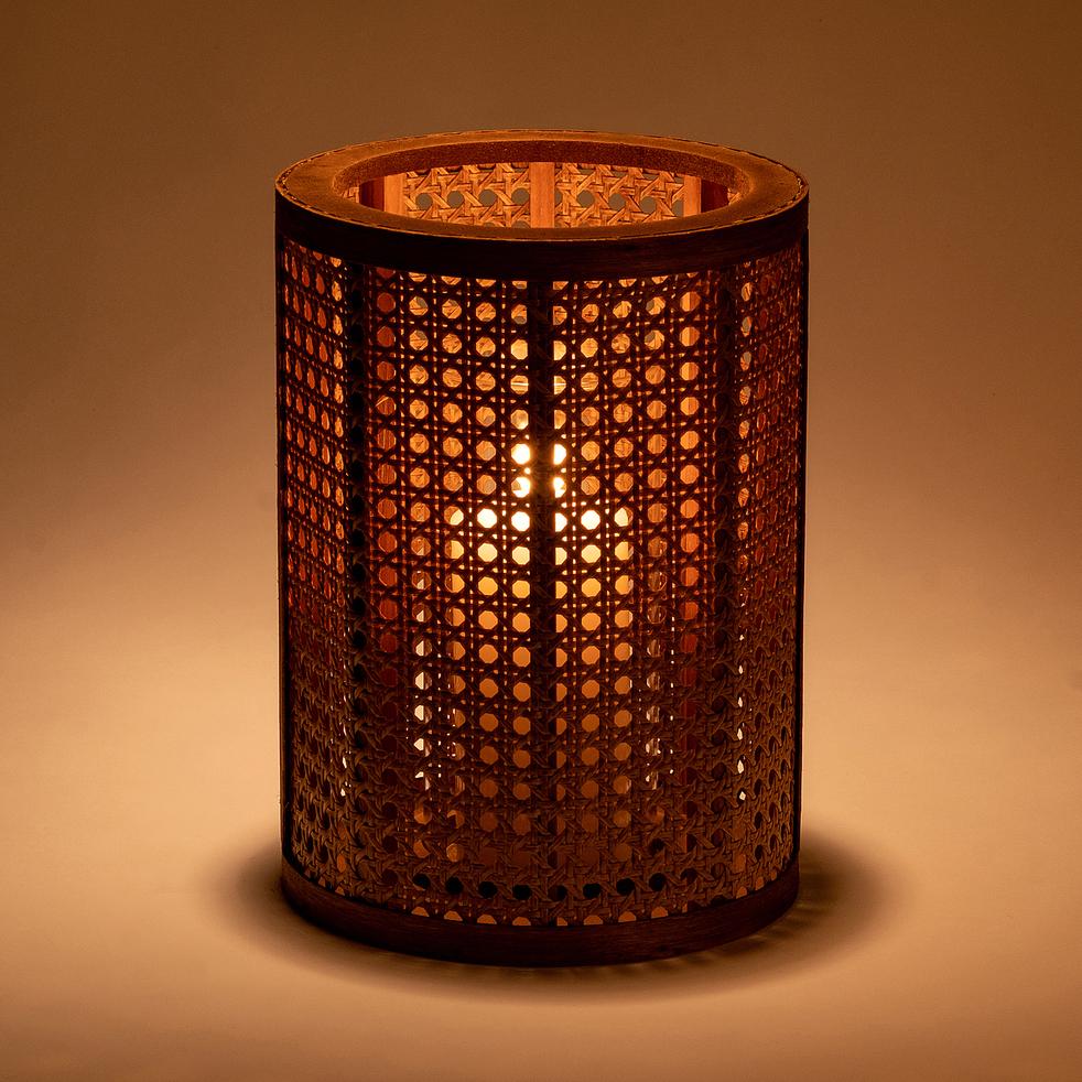 Photophore cylindrique en pin - naturel H27,5cm-MONA