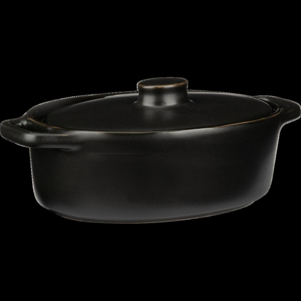 Mini cocotte ovale en grès noir 16cm-MIOU
