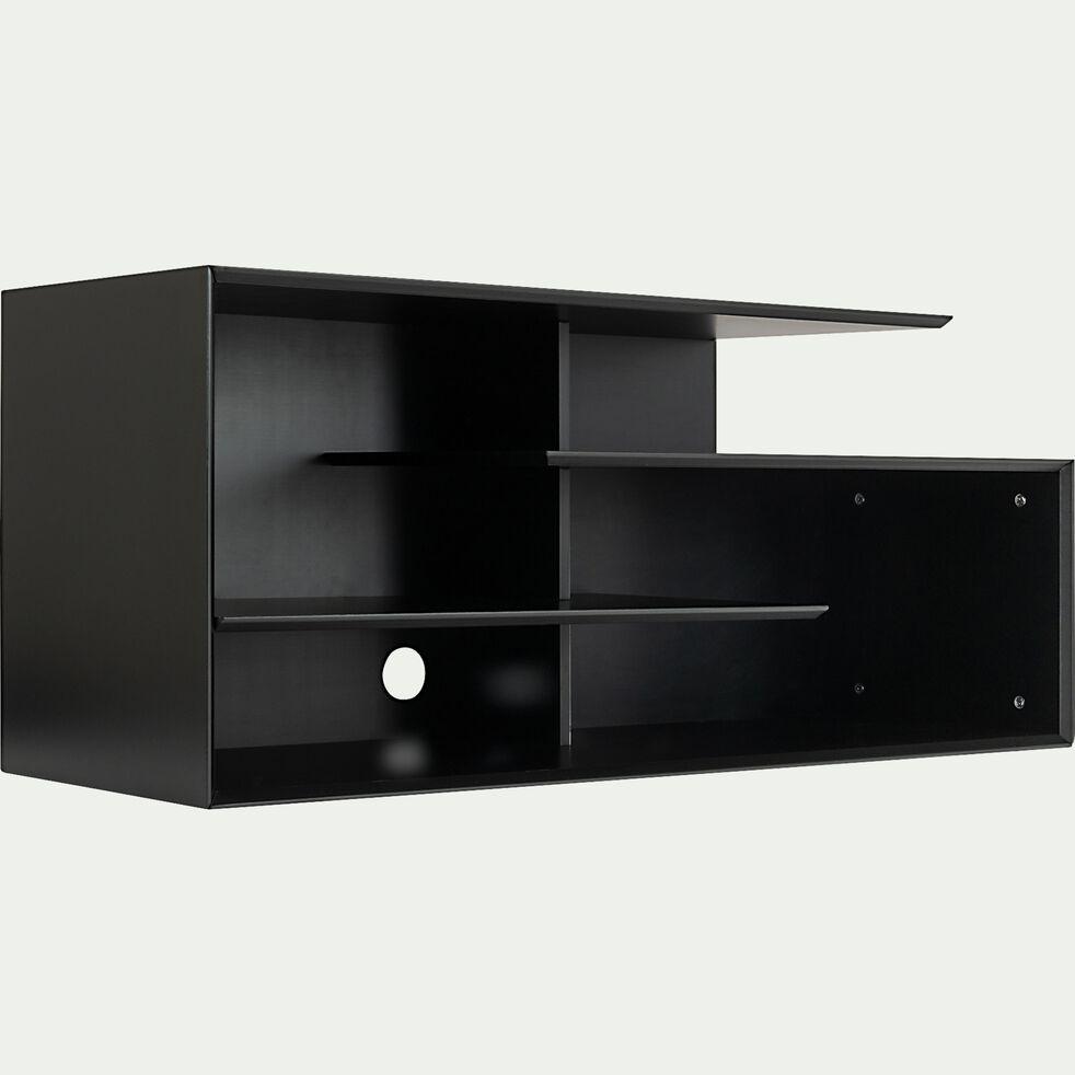 Meuble TV asymétrique en bois - L120xH50xl40cm noir-FABRO