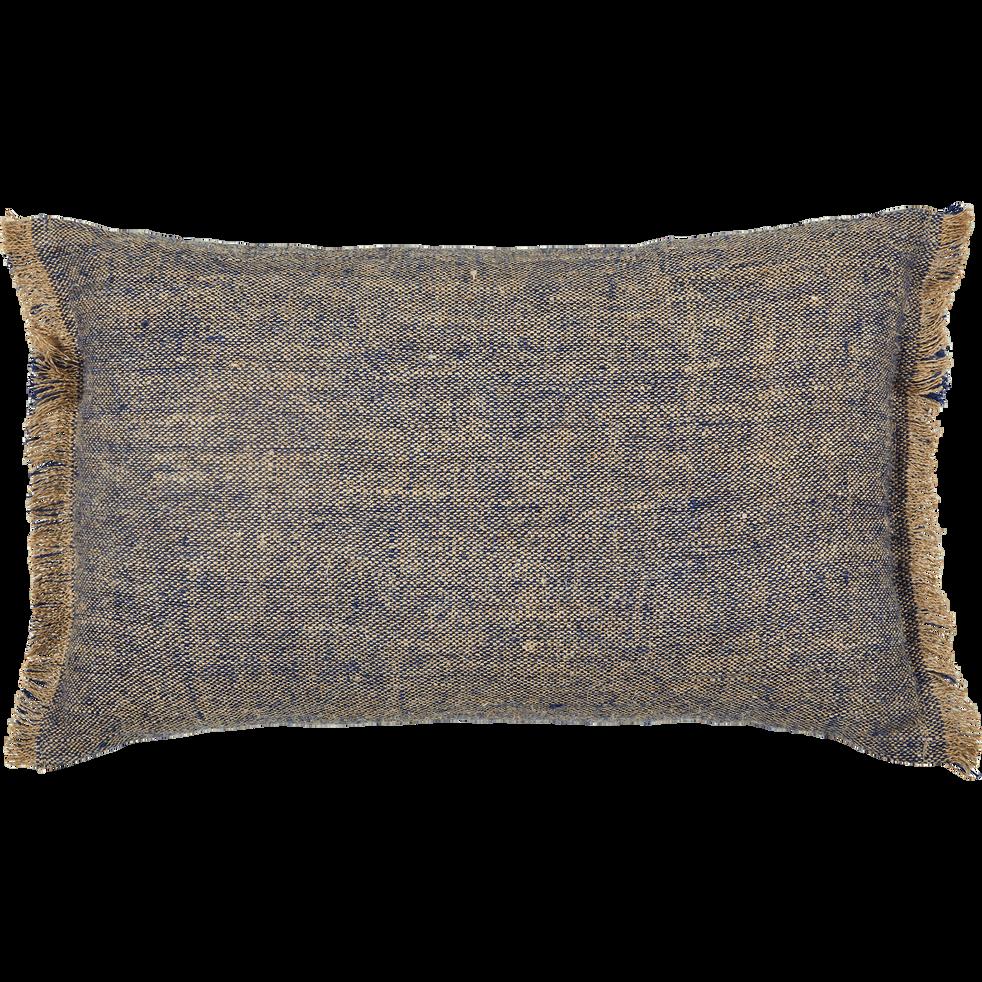 Coussin en lin 30x50cm naturel et bleu-CABANON