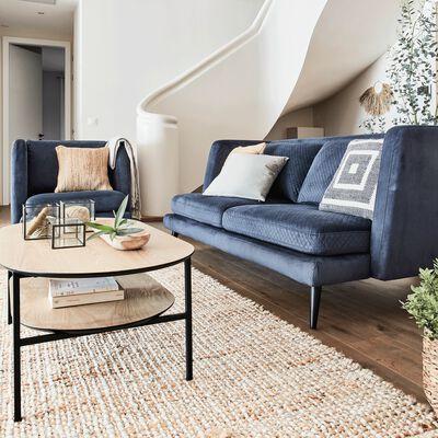 Canapé 3 places fixe surpiqué en velours bleu myrte-MELVE
